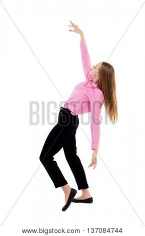 Balancing young business woman.  or dodge falling woman. Rear view people collection.  backside view of person.  Isolated over white background. Woman office worker in a pink shirt waving hands.