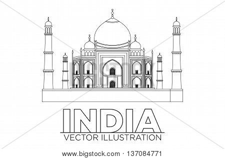Taj Mahal Vector Illustration, Symbol In Black Lines