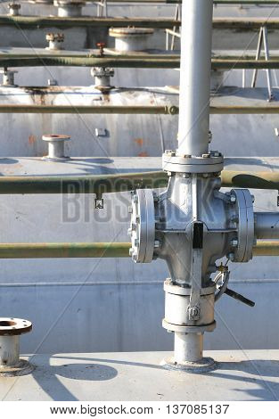 Ball Valve Above The Huge Gas Cylinder In The Industrial Refiner