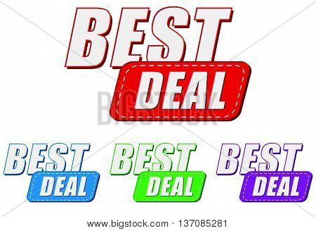 best deal, four colors labels, flat design, business shopping concept, vector