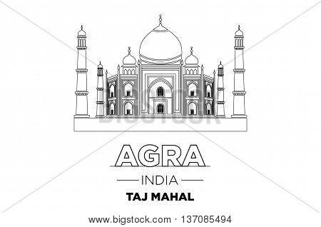 India City Line Taj Mahal India Typographic Design Vector