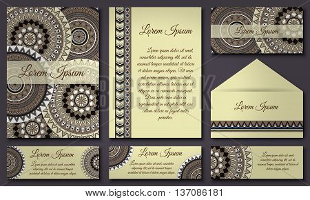 Invitations And Banners Template Set. Floral Mandala Pattern  Ornaments. Asian, Arabic, Indian, Otto