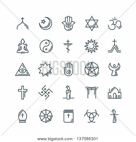 Vector religion icons set thin style eps10