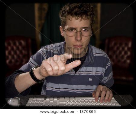 Teenager Pointing At Monitor