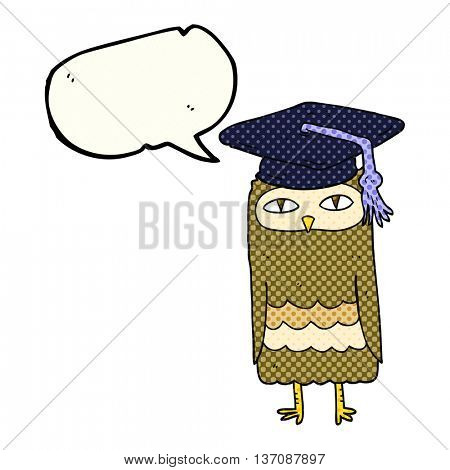 freehand drawn comic book speech bubble cartoon wise owl