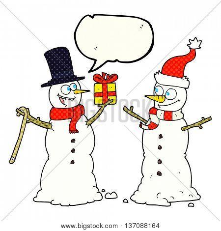 freehand drawn comic book speech bubble cartoon snowmen exchanging gifts