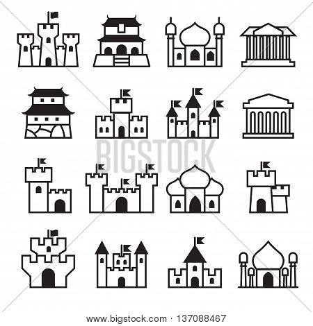 Castle & palace icon set 2 Vector illustration Graphic design