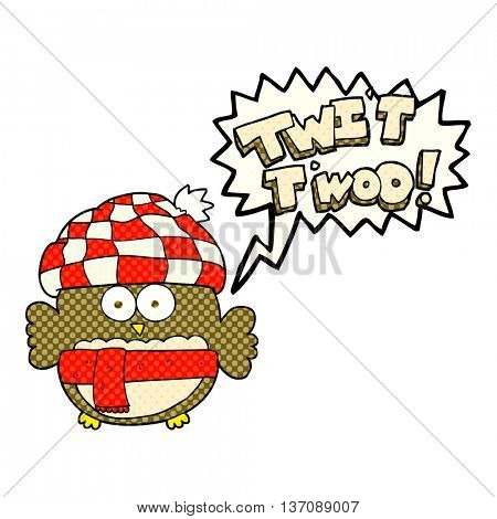 freehand drawn comic book speech bubble cartoon cute owl saying twit twoo