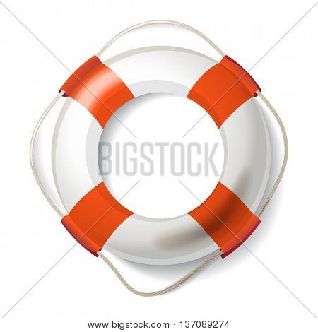 Realistic life buoy over white background