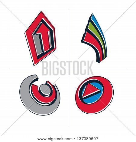 Set Of Three-dimensional Abstract Icons, Play Sign. 3D Vector Push Button, Multimedia Arrow Symbol I