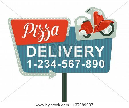 Retro night sign with an arrow. Billboard in retro style with lights. Delivery pizza on red moped. Isolated vector flat illustration on white background. For banner poster presentation.