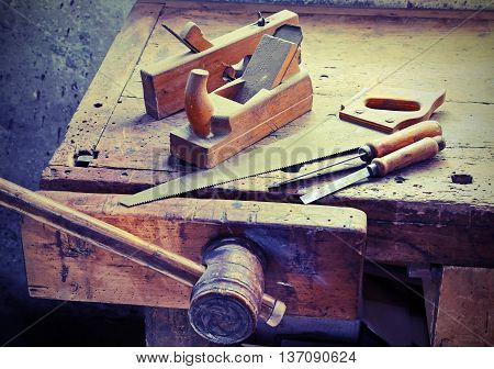 Planes And Chisels And A Saw On The Workbench