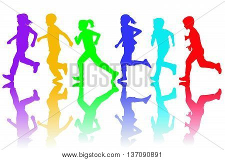 Colorful silhouettes of children running on white background