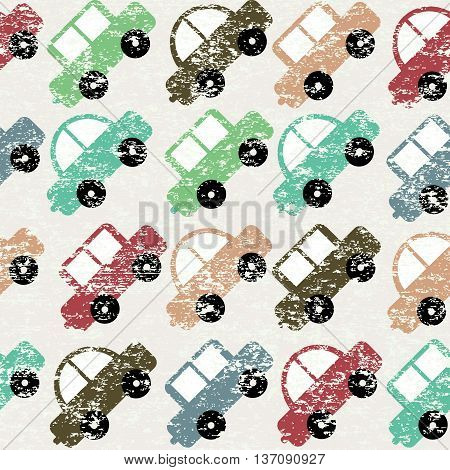 Vintage seamless background with cartoon toy cars