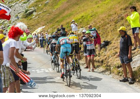 Col de la Croix de Fer France - 25 July 2015: Porte, Froome and Nibali at Col de la Croix de Fer in Alps during the stage 20 of Le Tour de France 2015.