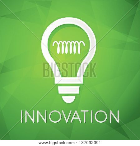 innovation and light bulb sign - text over green background with white symbol, concept web icon flat design, vector