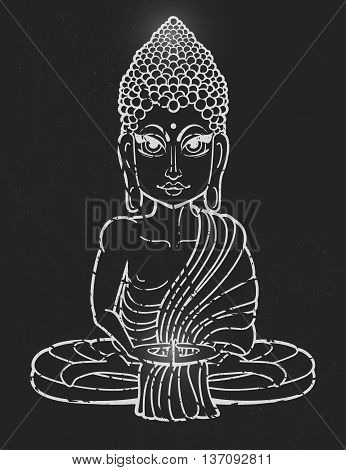 Drawing of a Buddha statue. Art vector illustration of Gautama Buddha Gautama Buddha. Buddhism Religion. Buddha Bless Band. Design for greeting card, print clothing. The concept of Yoga Studio.