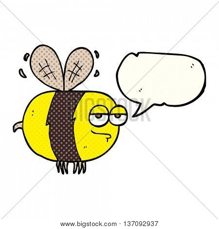 freehand drawn comic book speech bubble cartoon unhappy bee