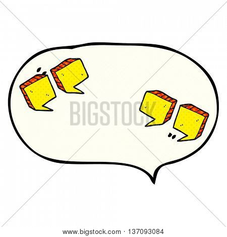 freehand drawn comic book speech bubble cartoon quotation marks