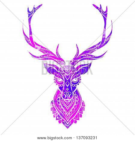 Ornament deer vector. Beautiful illustration deer  for design, print clothing, stickers, tattoos, Adult Coloring book. Hand drawn animal illustration. Ornamental deer lace watercolor