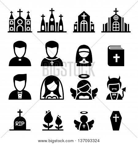 church icon set  Vector illustration Graphic design