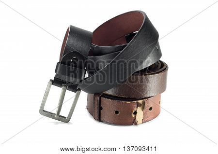 belt or men's black belt isolated on a background
