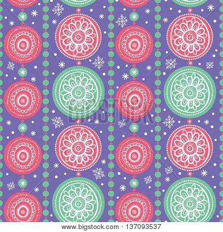 Seamless abstract background with Christmas decorations. Pattern with Christmas Garlands.