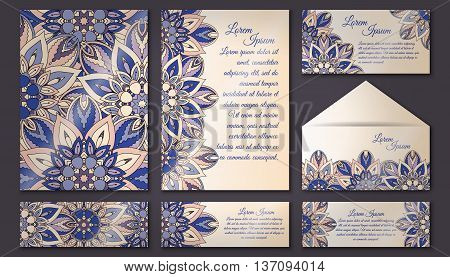 Invitation Cards Set. Vintage Decorative Elements. Islam, Arabic, Indian, Ottoman Motifs.