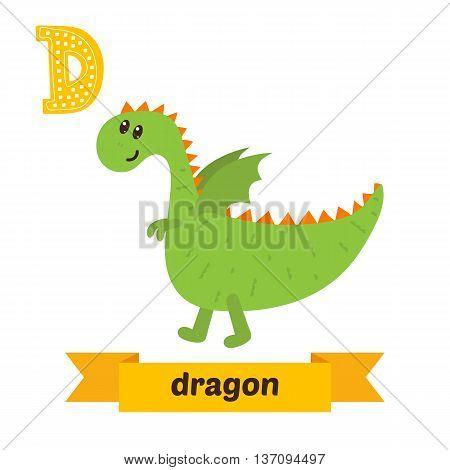 Dragon. D Letter. Cute Children Animal Alphabet In Vector. Funny Cartoon Animals