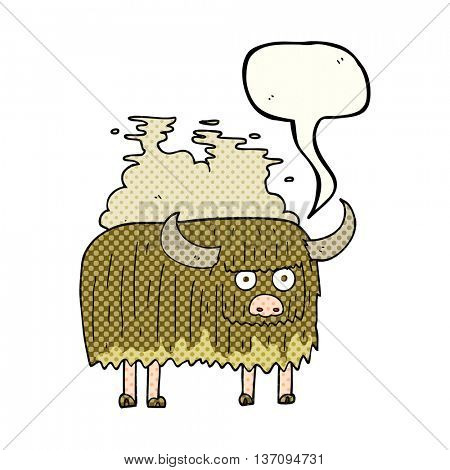 freehand drawn comic book speech bubble cartoon smelly cow
