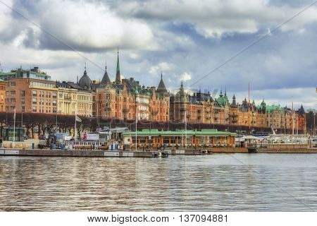 Stockholm Sweden - March 30 2016: Stockholm city Sweden. Stockholm old town view.