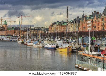 Stockholm Sweden - March 30 2016: Ships in the harbor of Stockholm Sweden