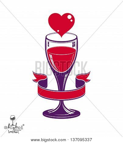 Valentine Day romantic theme, stylized goblet with red heart and beautiful wavy ribbon.