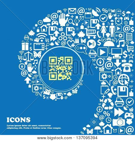 Qr Code Sign Symbol. Nice Set Of Beautiful Icons Twisted Spiral Into The Center Of One Large Icon. V