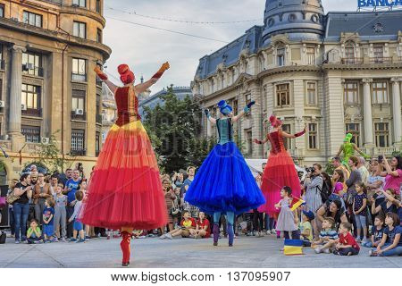 Bucharest, Romania - June 10 2016: Ballerinas show at B-FIT in the Street. B-FIT is a cultural event that involves international artists and acrobats who act in theater plays on street.