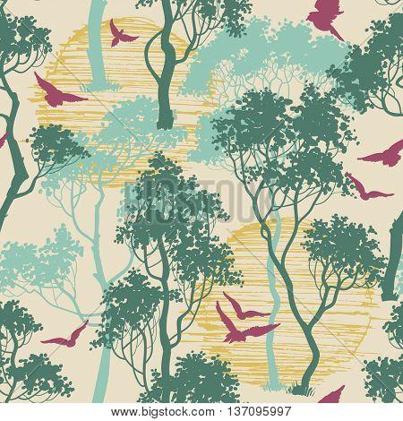 Forest birds seamless pattern