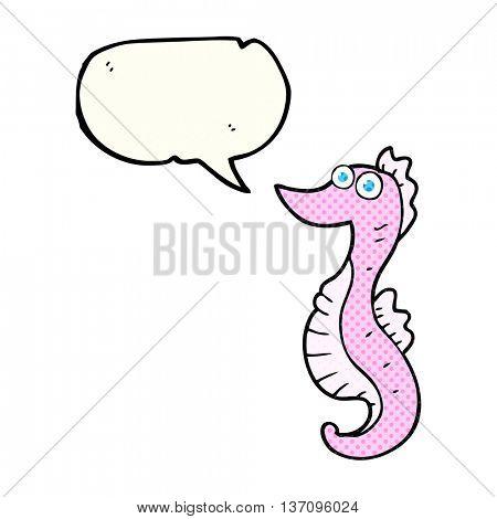 freehand drawn comic book speech bubble cartoon seahorse