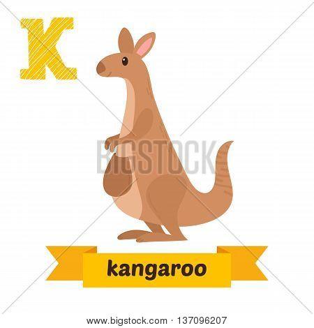Kangaroo. K Letter. Cute Children Animal Alphabet In Vector. Funny Cartoon Animals