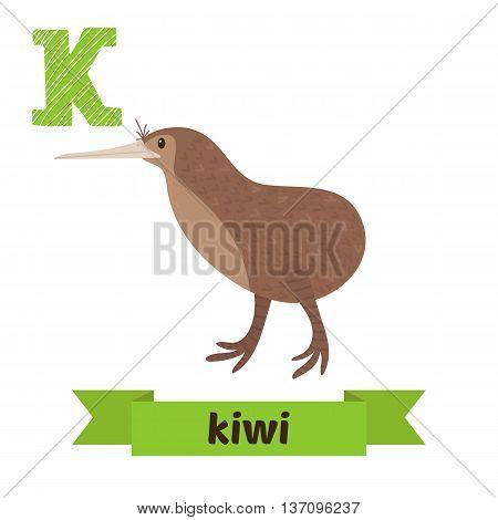Kiwi. K Letter. Cute Children Animal Alphabet In Vector. Funny Cartoon Animals