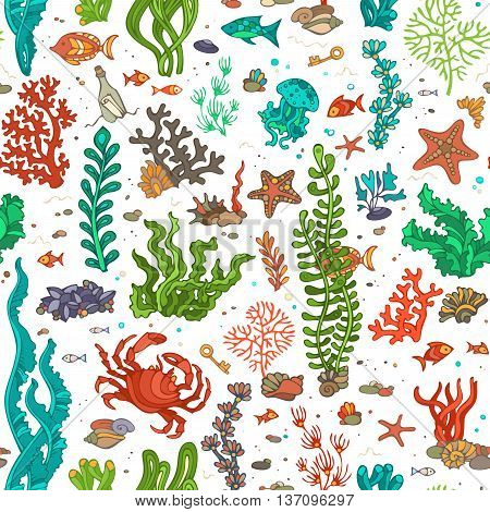 Seamless Cartoon Marine Pattern.