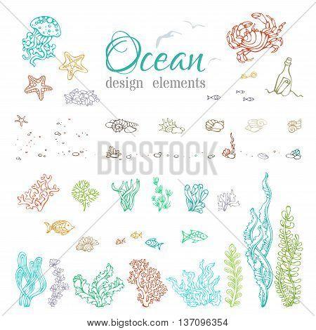 Vector Set Of Underwater Sea/ocean Design Elements.