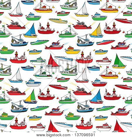 Colourful Seamless Marine Pattern.