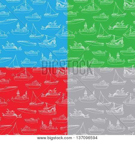 Vector Set Of Seamless Nautical Patterns.