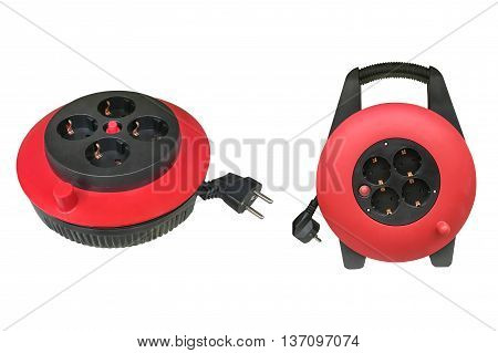 red extender electric cable isolated on white background
