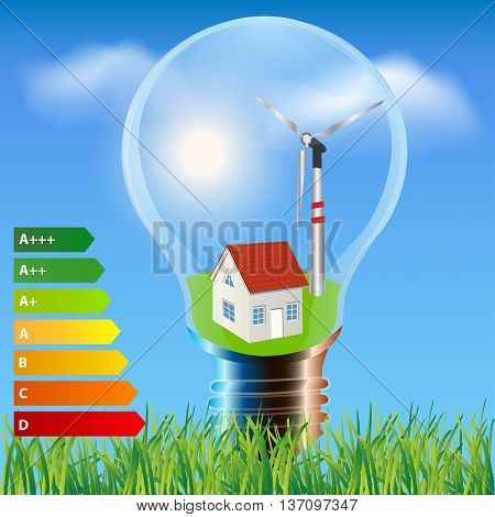 Environmental friendly energy.Energy saving concept Ecology house in light bulb.Think green concept