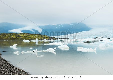 Icebergs In The Glacial Lake, Fjallsarlon Lagoon, South Iceland