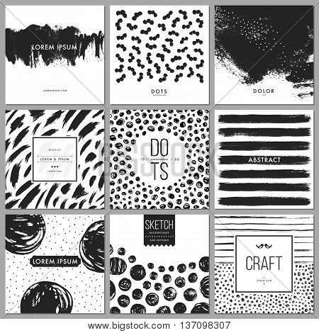 Set of universal cards. Hand drawn cards with abstract grunge textures. Use for printed materials, cards, invitations, greeting cards, covers, placards, posters, postcards, brochures and flyers. Good for business cards, branding and identity design.