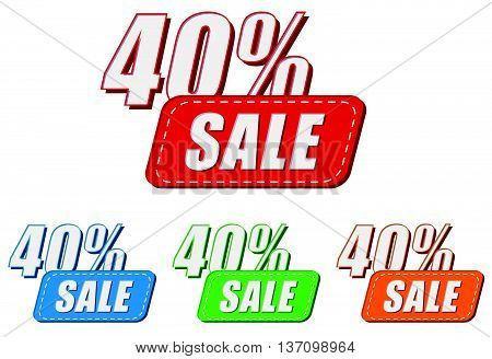 40 percentages sale, four colors labels, flat design, business shopping concept, vector