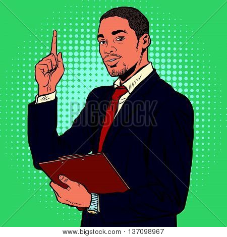 African business man, indicating an important topic pop art retro vector. Black African American, elegant gentleman of middle age.