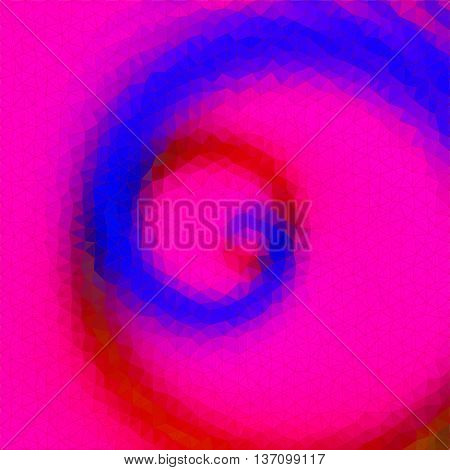Abstract triangular pink, red and blue swirling background with spirals Background of triangles with concentric spirals converging to one point